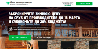 Лендинг для строительства деревянных домов в Москве