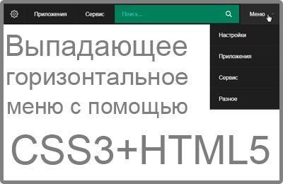Выпадающее горизонтальное меню с поиском на CSS3 и HTML5