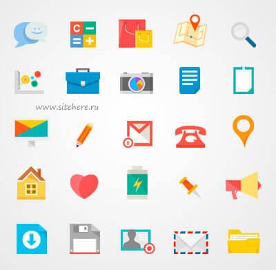 Набор иконок в стиле Flat (PNG+PSD)