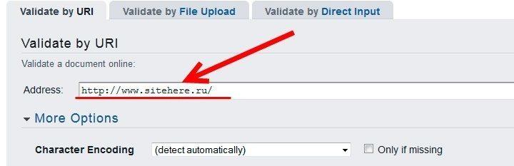 Вводим адрес сайта для валидации