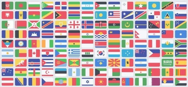 195 флагов в стиле Flat