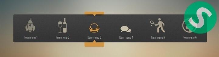 Меню с прозрачными иконками на CSS