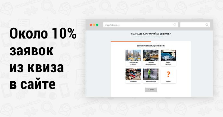 Пример квиза внутри сайта: 10 процентов заявок с квиза