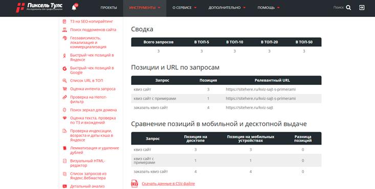 Проверка позиций сайта в Google с помощью Pixeltools